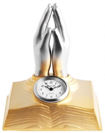 Tavolino miniatűr imádkozó kéz/könyv óra