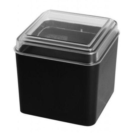 Műanyag átlátszó tetejű fekete óradoboz