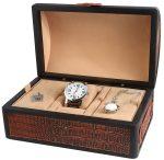 Kiváló minőségű óra és ékszer doboz krokodil hatású műbőr